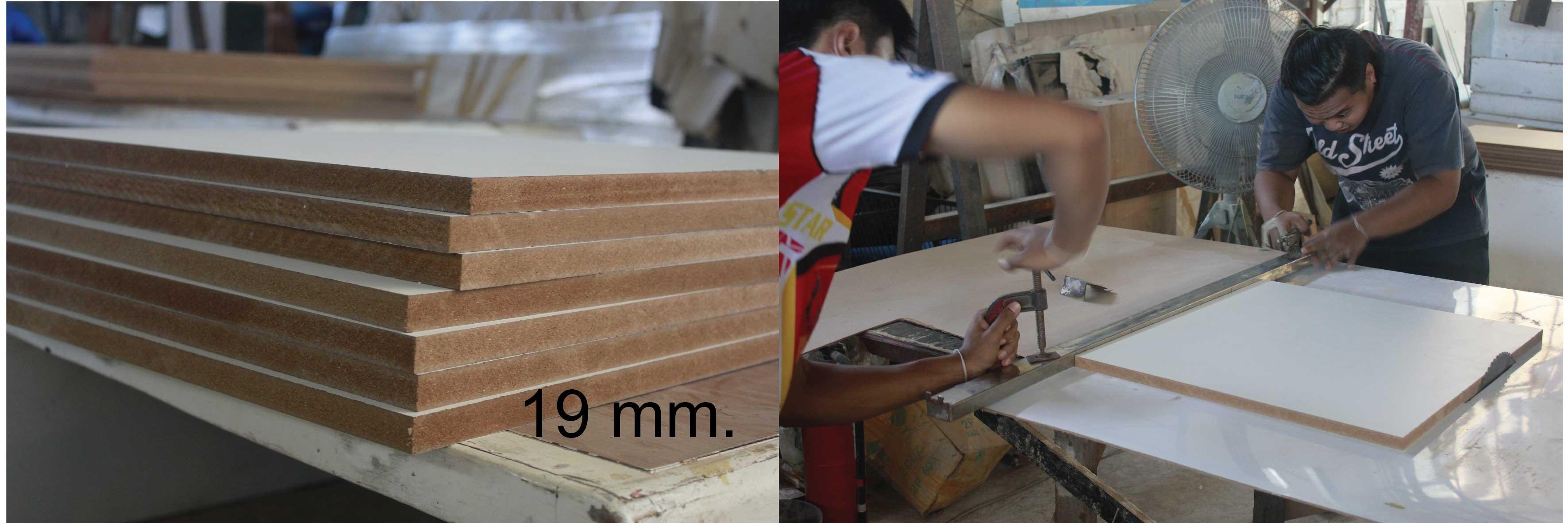 แผ่นไม้ที่นำมาประกอบตู้ครอบเตาอบต้องมีความหนา 19 mm. ซึ่งจะเป็นขนาดที่สามารถรองรับน้ำหนักเตาอบได้เป็นอย่างดี โดยไม่ทำให้โครงสร้างแอ่นและโค้งงอ